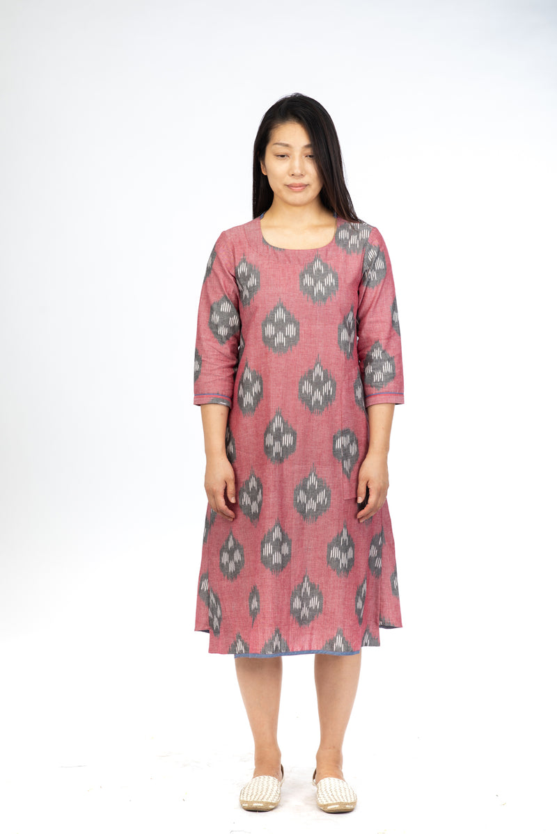 Red Lotus Stem A-line Dress