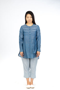 Blue Space Dye Tunic Top