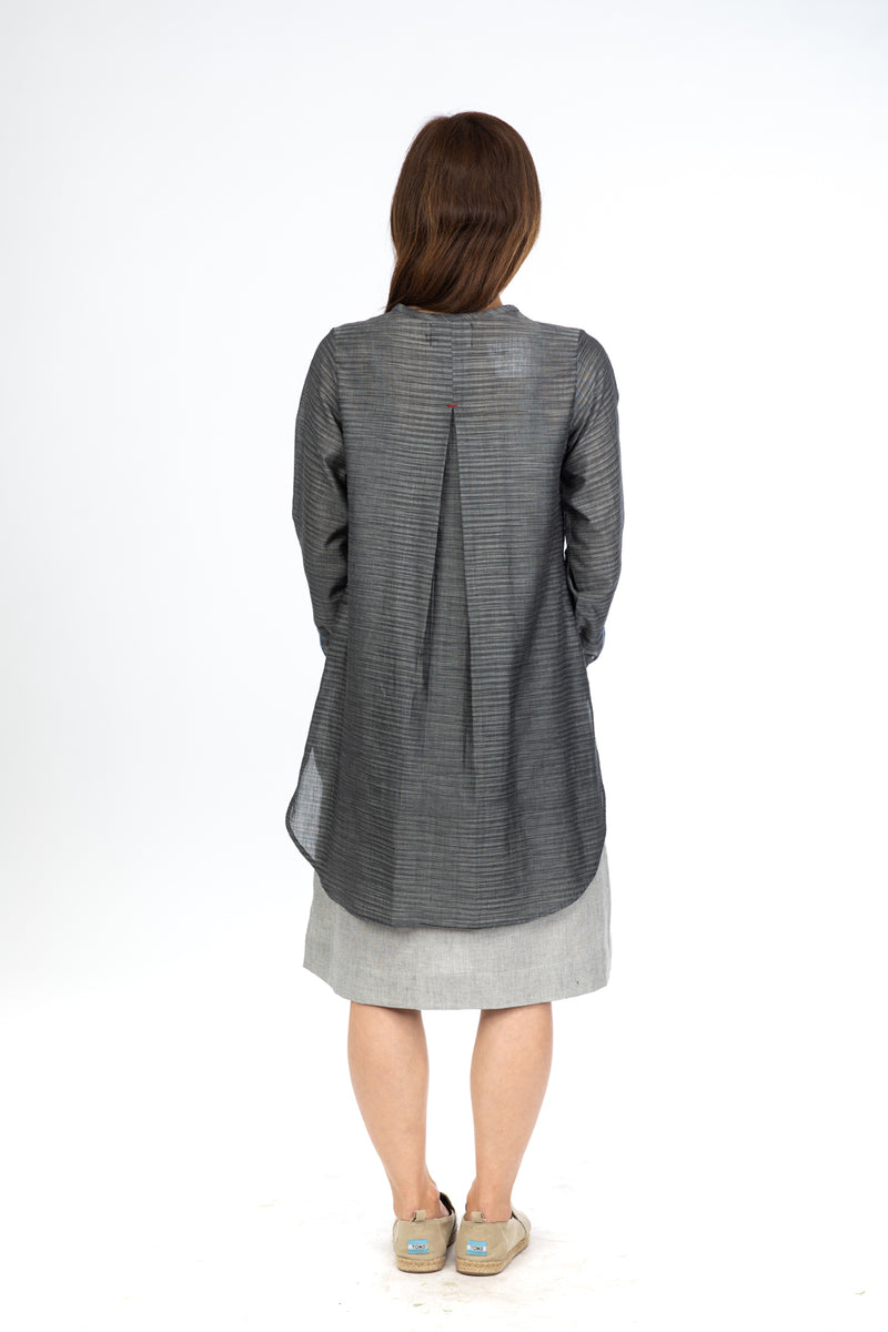 Grey Space Dye Tunic Top