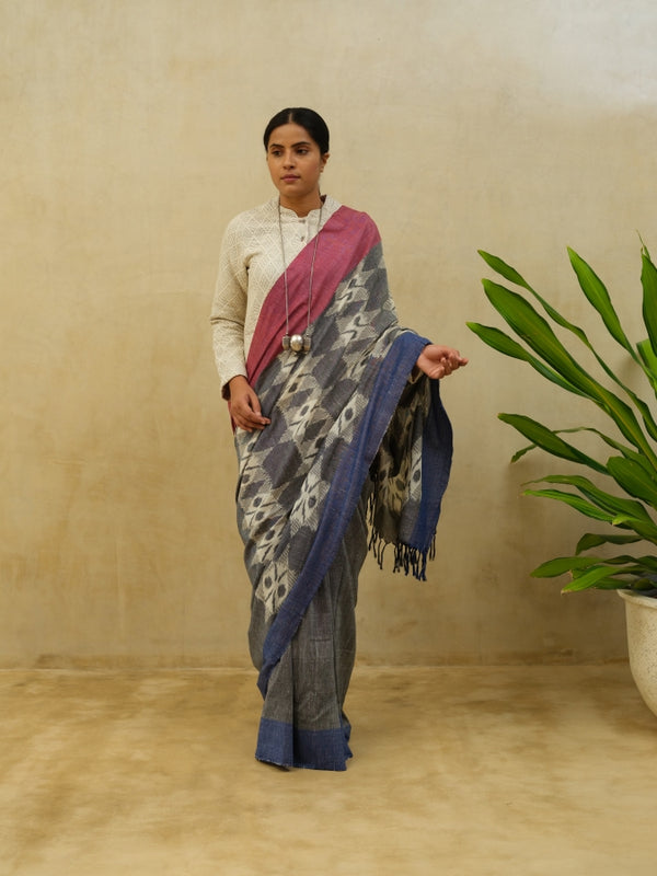 Grey Big Flower Cotton Saree