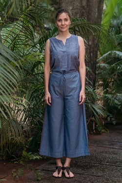 Blue Chambray Wide Leg Pants