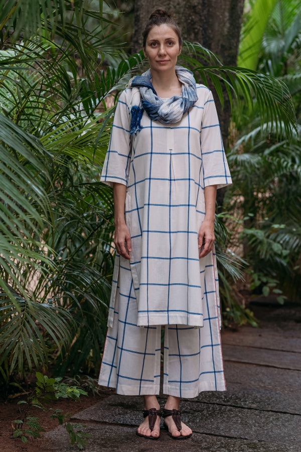 Blue Criss-Cross Pleated Kurta