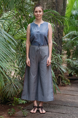 Grey Chambray Wide Leg Trouser