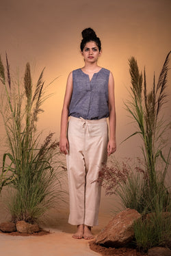 Beige Chambray Capri Pants