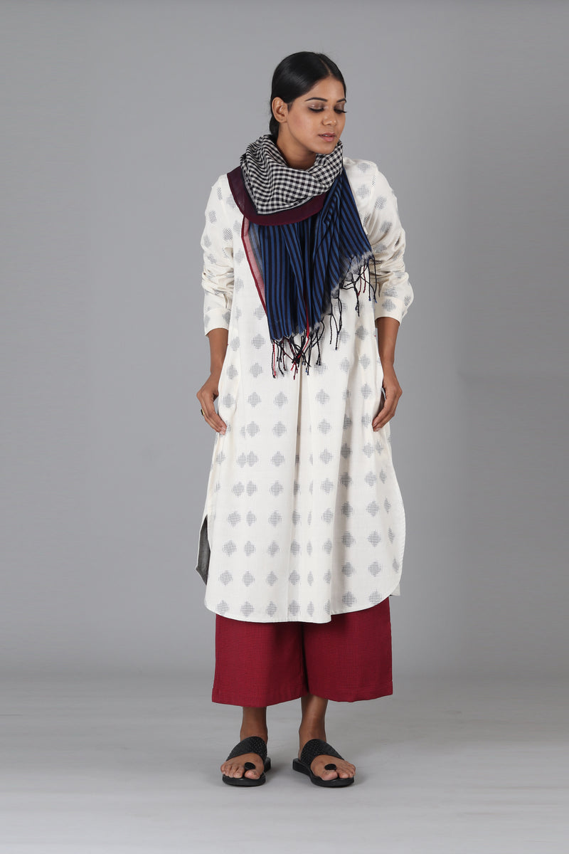 White Jali Polka Long Kurta