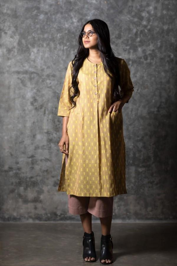 Yellow Box Slit Kurta