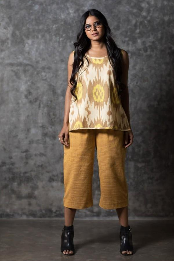 Yellow Brown Buds & Dots Sleeveless Top