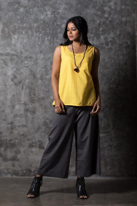 Yellow Solid Sleeveless Top