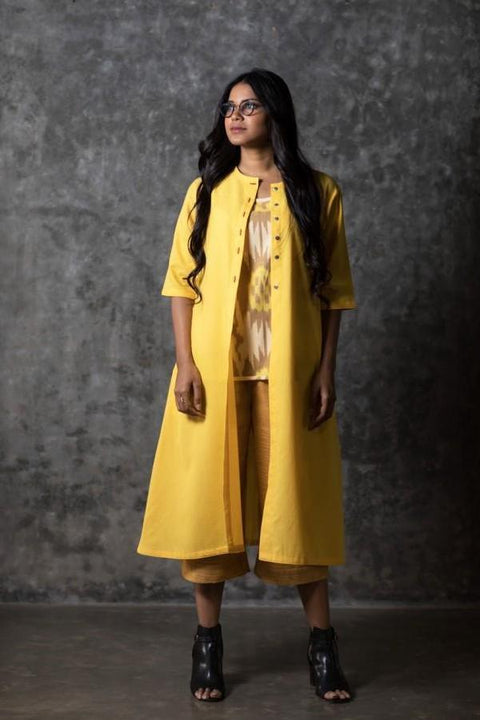 Yellow Solid Open Long Jacket