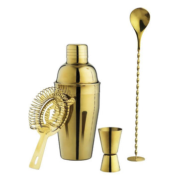 gold barware set kit shaker