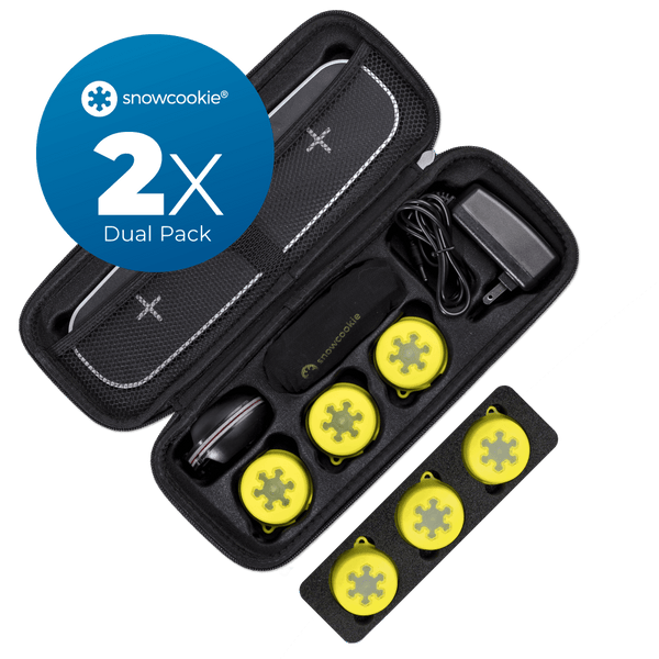 Dual Pack (2x) -  Snowcookie Smart Ski System with iPhone App Tracker (yellow)