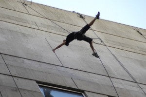 Air to Air: hanging off a building