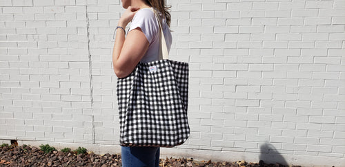 Reusable Grocery Bag: Small Buffalo Check Black