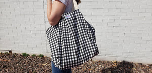 Extra Large Reusable Grocery Bag: Small Buffalo Check Black
