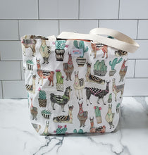 Load image into Gallery viewer, Reusable Grocery Bag: Llamas