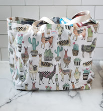 Load image into Gallery viewer, Extra Large Reusable Grocery Bag: Llamas
