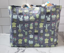 Load image into Gallery viewer, Extra Large Reusable Grocery Bag: Gray Cactus
