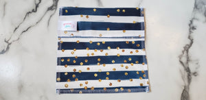 PUL Reusable Snack Bag: Navy with White Stripes and Glitter