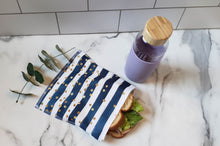 Load image into Gallery viewer, PUL Reusable Snack Bag: Navy with White Stripes and Glitter