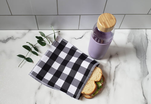Cotton Reusable Snack Bag: Buffalo Check