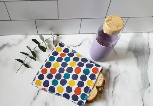 Cotton Reusable Snack Bag: Big Dots
