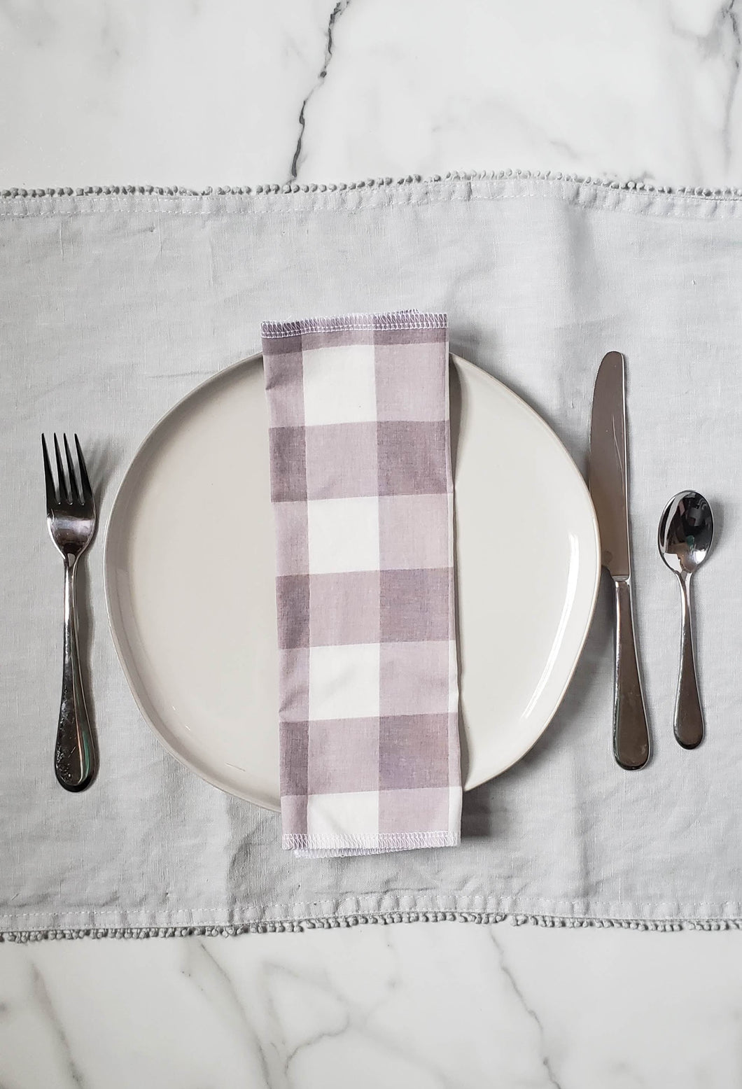 Cloth Napkins: Light Gray Buffalo Check