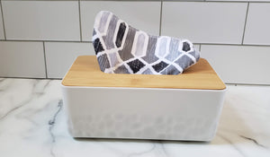 Cloth Tissues: Black Gray Geometric