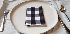 Cloth Napkins: Black and White Buffalo Check