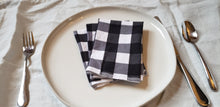 Load image into Gallery viewer, Cloth Napkins: Black and White Buffalo Check