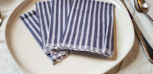 Load image into Gallery viewer, Cloth Napkins: Navy Stripes