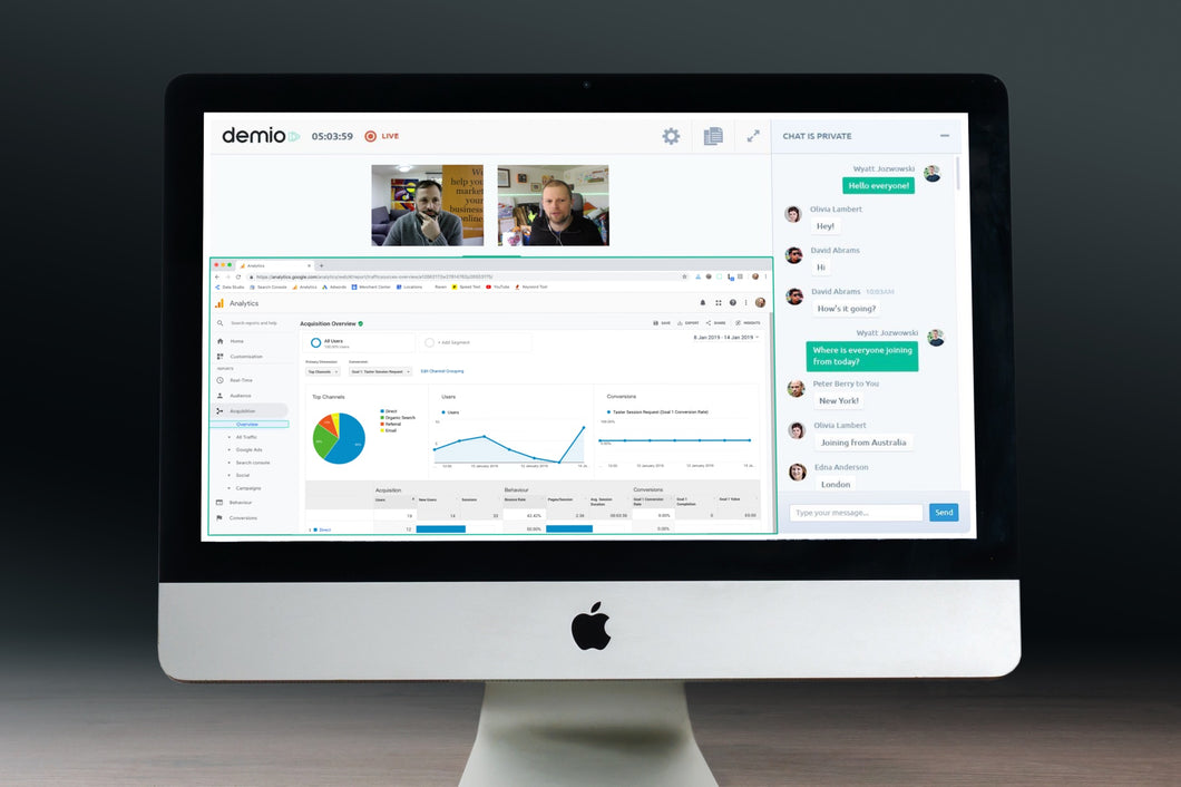 Example of webinar video on iMac screen