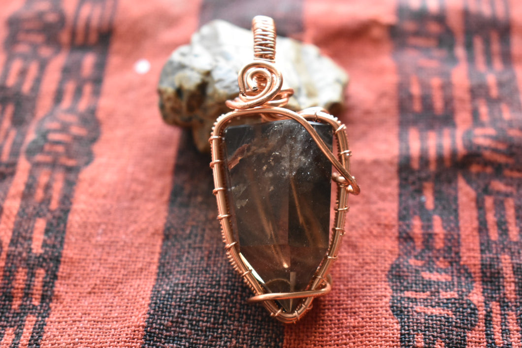 Smokey Quartz Point w/ Hematite