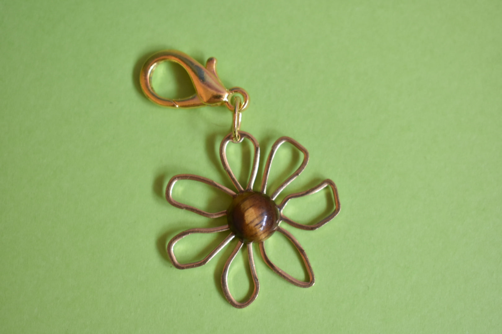 Tigers Eye Flower Power Keychain