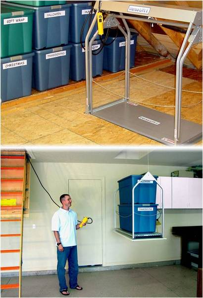 Versa Lift Model 24CHXX Corded Pendant 17-20 ft Attic Storage Lift - Storage Lifts Direct Free up your garage shelving.  Improve your garage organization. Call Storage Lifts Direct today.
