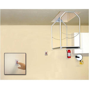 Versa Lift Model 24MHX mounted wall switch 14-17 ft. ft Attic Storage Lift - Storage Lifts Direct Free up your garage shelving. Improve your garage storage. Call Storage Lifts Direct today.