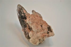 Barite on Smoky Quartz