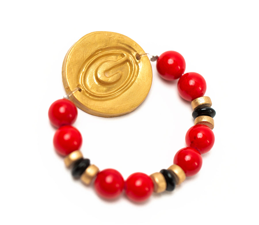 Red & Black Jade with Georgia G Bracelet
