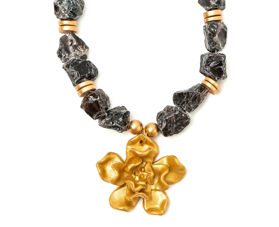 Smokey Quartz with Camellia Blossom Necklace