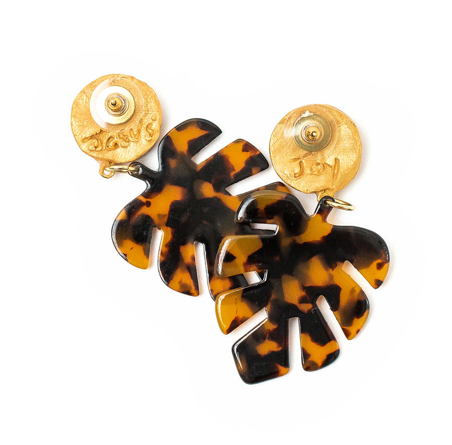 Tortoise Shell Leaf Dangles
