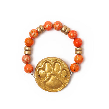 Orange Sea Jasper with Tiger Paw Bracelet