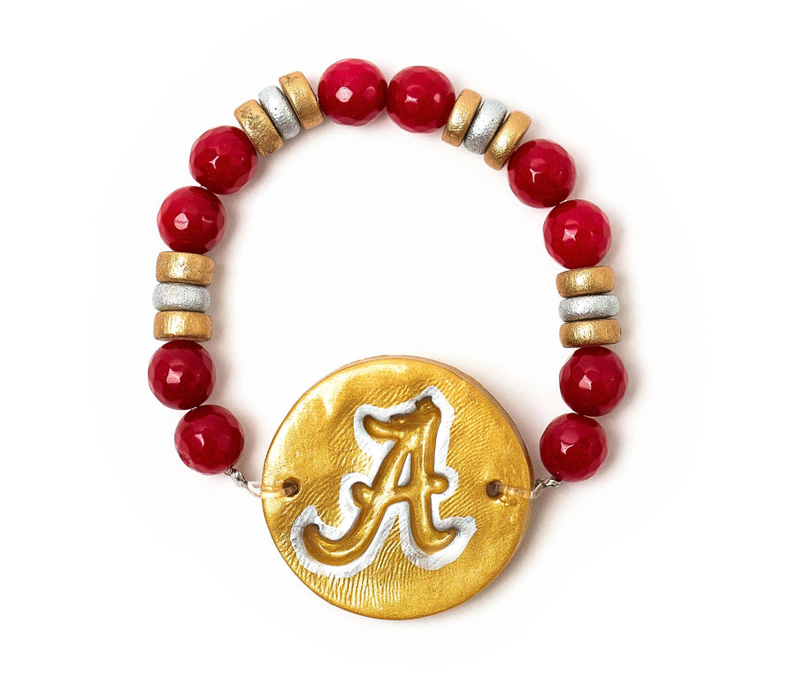 Crimson Jade with Silver & Gold A Bracelet