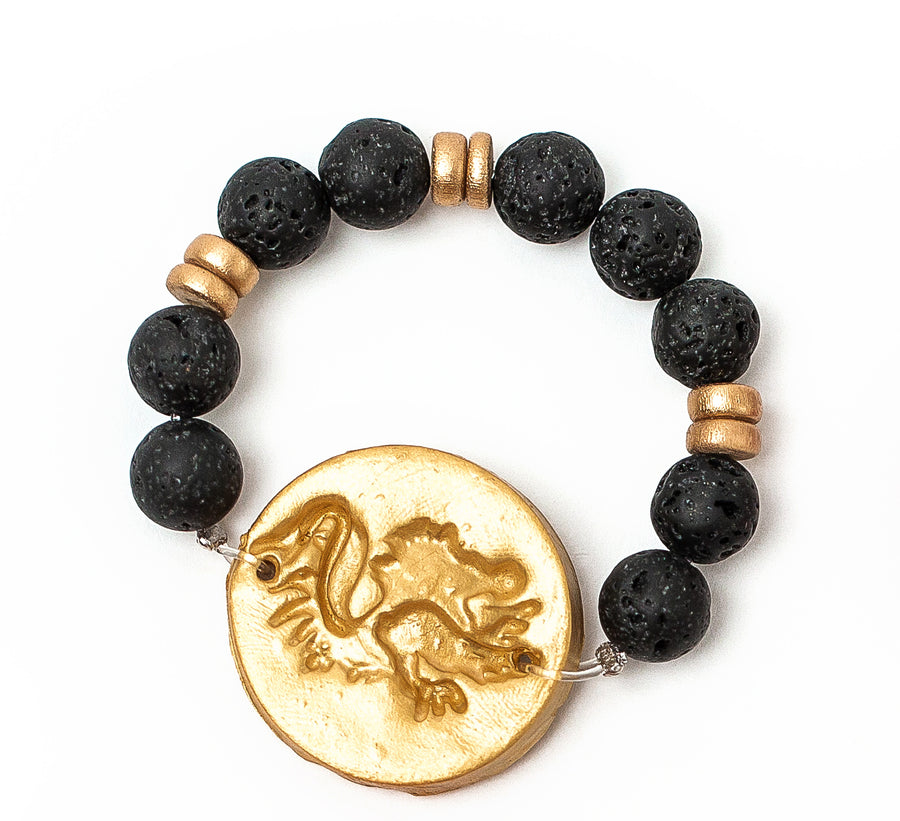 Black Lava with Gamecock Bracelet