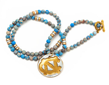 Carolina Blue Sea Jasper with Silver/Gold  NC