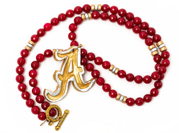 Crimson Jade with Silver & Gold A Necklace