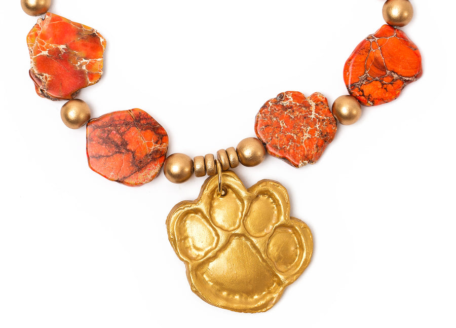 Orange Sea Sediment Jasper with Tiger Paw (Short)
