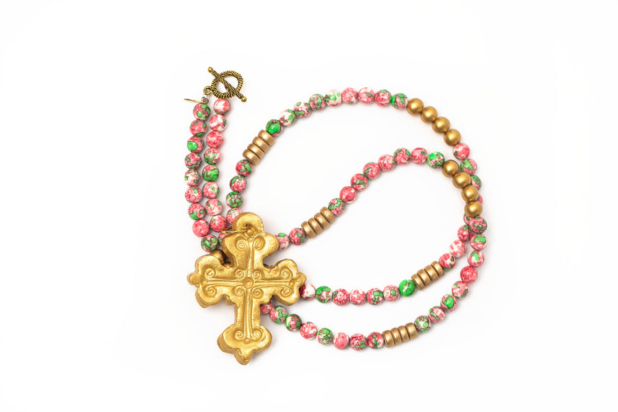 Pink & Green Rainwater Jade with Mims Cross