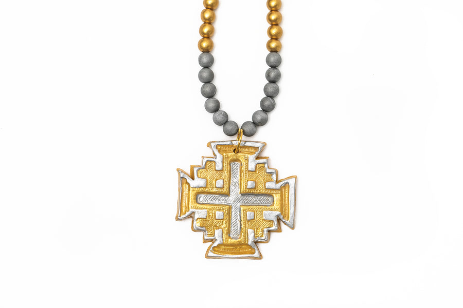 Silver Druzy Agate with Gold & Silver Jerusalem Cross