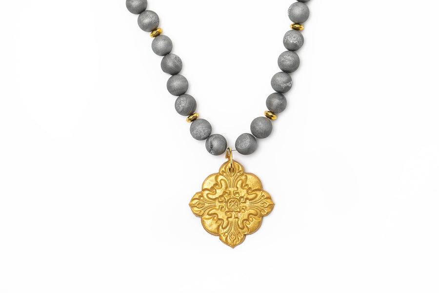 Silver Druzy Agate & Gold with Medallion