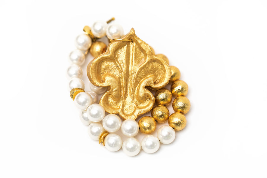 Gold & Pearls with Fleur De Lis