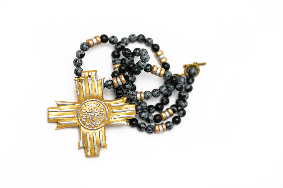Black Obsidian Jasper with Silver & Gold Freedom Cross